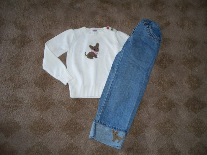 Gymboree Lots of Dots Chihuahua Sweater/Jeans size 6