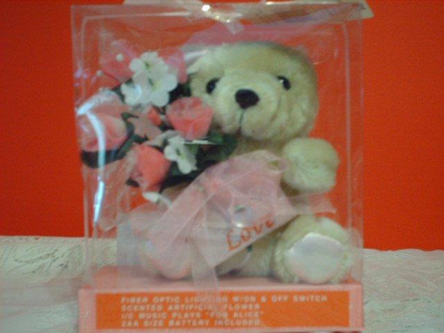 "Musical Fiber Optic Bear with Pink ""Love"" Envelope"