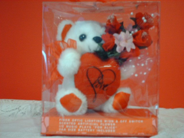 Musical Fiber Optic Bear with Red Heart