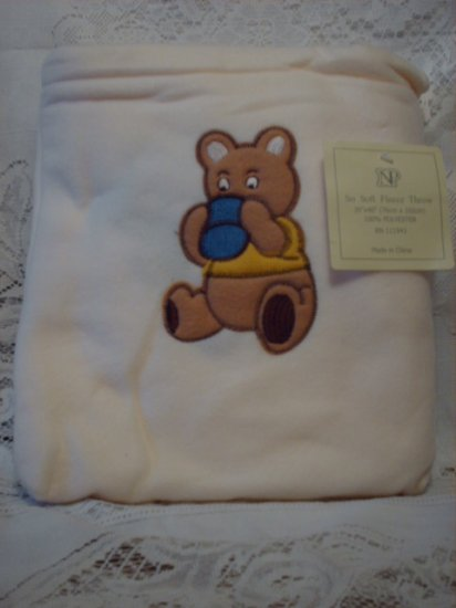 White Fleece Baby Blanket with Matching Bag - Bear
