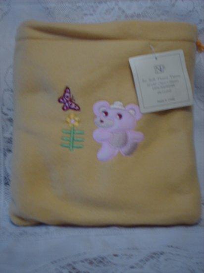 Yellow Fleece Baby Blanket with Matching Bag - Pink Bear