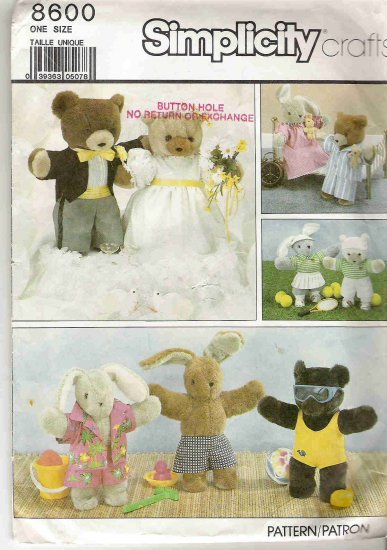 Simplicity Crafts 8600 Bunny and Bear Clothes Pattern