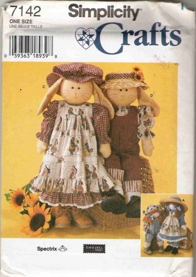 Simplicity Crafts 7142 Rag Doll or Bunny and Clothes