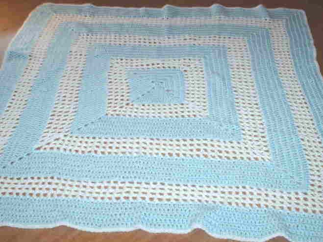 Blue and White Crocheted Baby Blanket