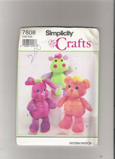 Simplicity 7808 Cuddly Bear, Bunny and Hippo