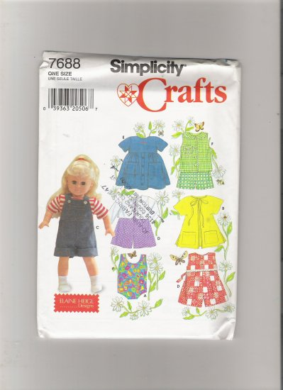 """Simplicity 7688 Clothes for 18"""" Doll"""