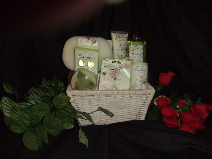 Wicker Gift Basket Filled with Gardenia Scented Bath Products