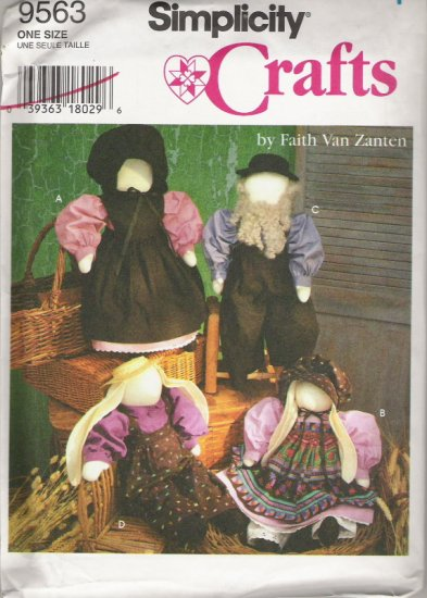 "Simplicity Crafts 9563 by Faith Van Zanten a 20"" Boy and Girl Doll or Bunny /Includes Clothes"