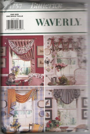 Butterick 4757 Waverly Pattern for Window Toppers and Curtains