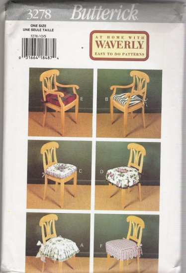 Butterick 3278 At Home With Waverly Easy to do Patterns for 6 different Chair Pads