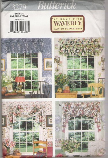 Butterick 3279 At Home with Waverly Easy to do Patterns for Window Valances