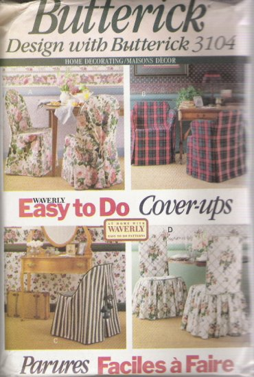 Butterick 3104 Home Decorating/Maisons Decor Waverly Easy to Do Cover-ups