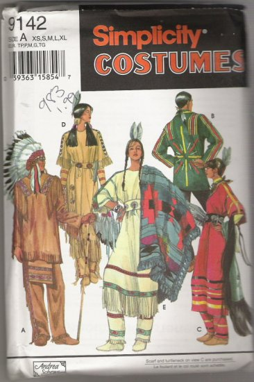 Simplicity Costumes 9142 Adult Native American Costumes Sizes XS,S,M,L,XL