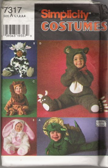 Simplicity Costumes 7317 Baby and Toddler Sizes 1/2,1,2,3,4