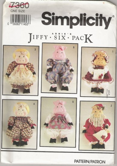Simplicity 7360 Abbie's Jiffy Six Pack Pigs and Clothes