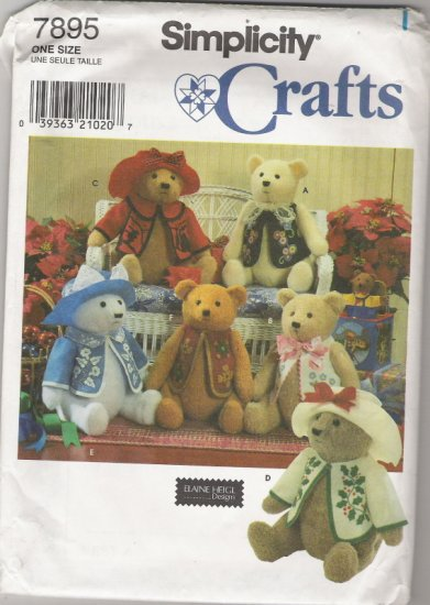 """Simplicity Crafts 7895  18"""" Bear and Clothes/Permanent Ink Transfers"""