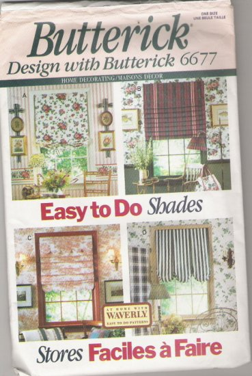 Butterick 6677 Home Decorating/Maisons Decor Easy To Do Shades and Picture Hanger