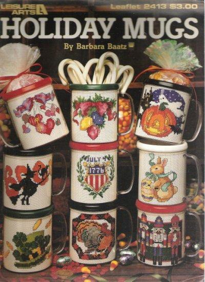 Leisure Arts Leaflet 2413 Holiday Mugs Cross Stitch Book