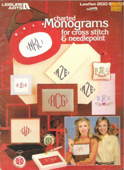 Leisure Arts Leaflet 200 Charted Monograms for Cross Stitch and Needlepoint