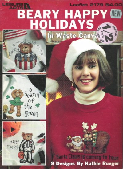 Leisure Arts Leaflet 2179 Beary Happy Holidays in Waste Canvas
