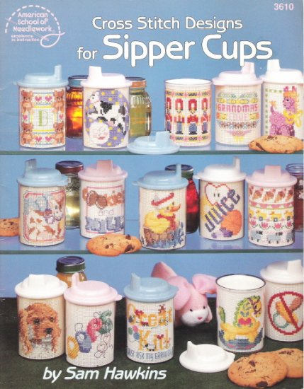 American School of Needlework #3610 Cross Stitch Designs for Sipper Cups