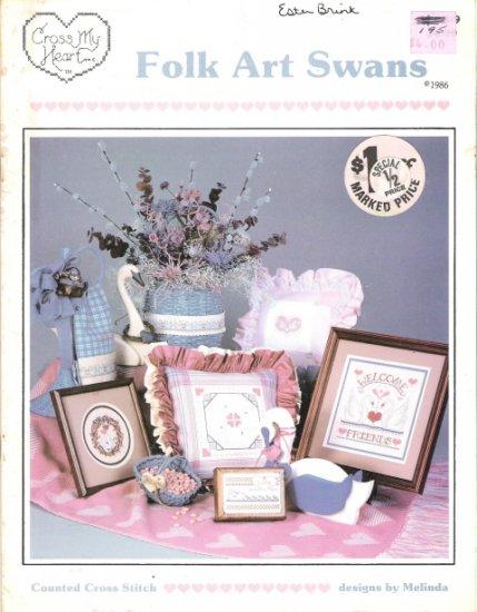 Cross My Heart Folk Art Swans Cross Stitch Book