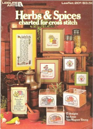 Leisure Arts Leaflet 201 Herbs and Spices Charted For Cross Stitch