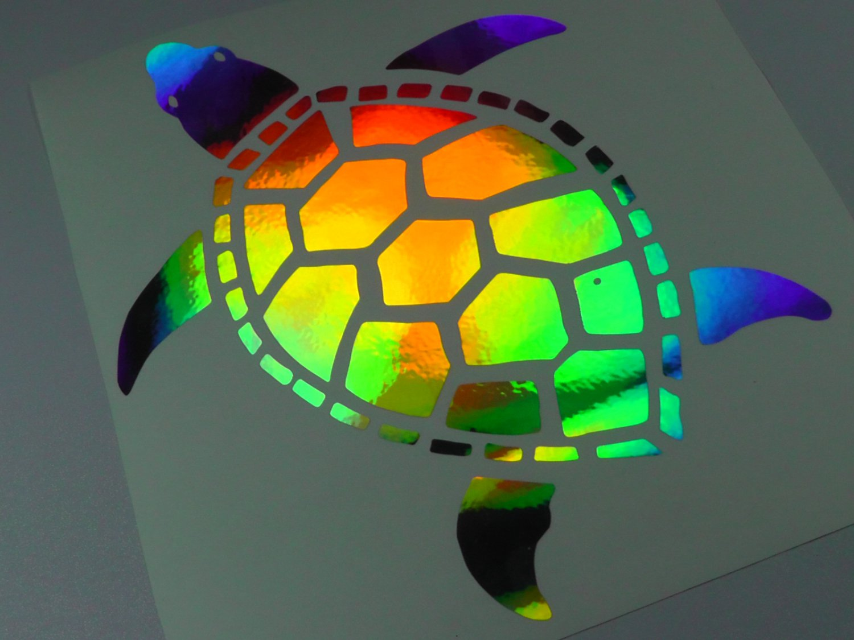 "Car Paint Colors >> 10"" Holographic TURTLE Car Window Decal Sticker terrapin tortoise turtles"