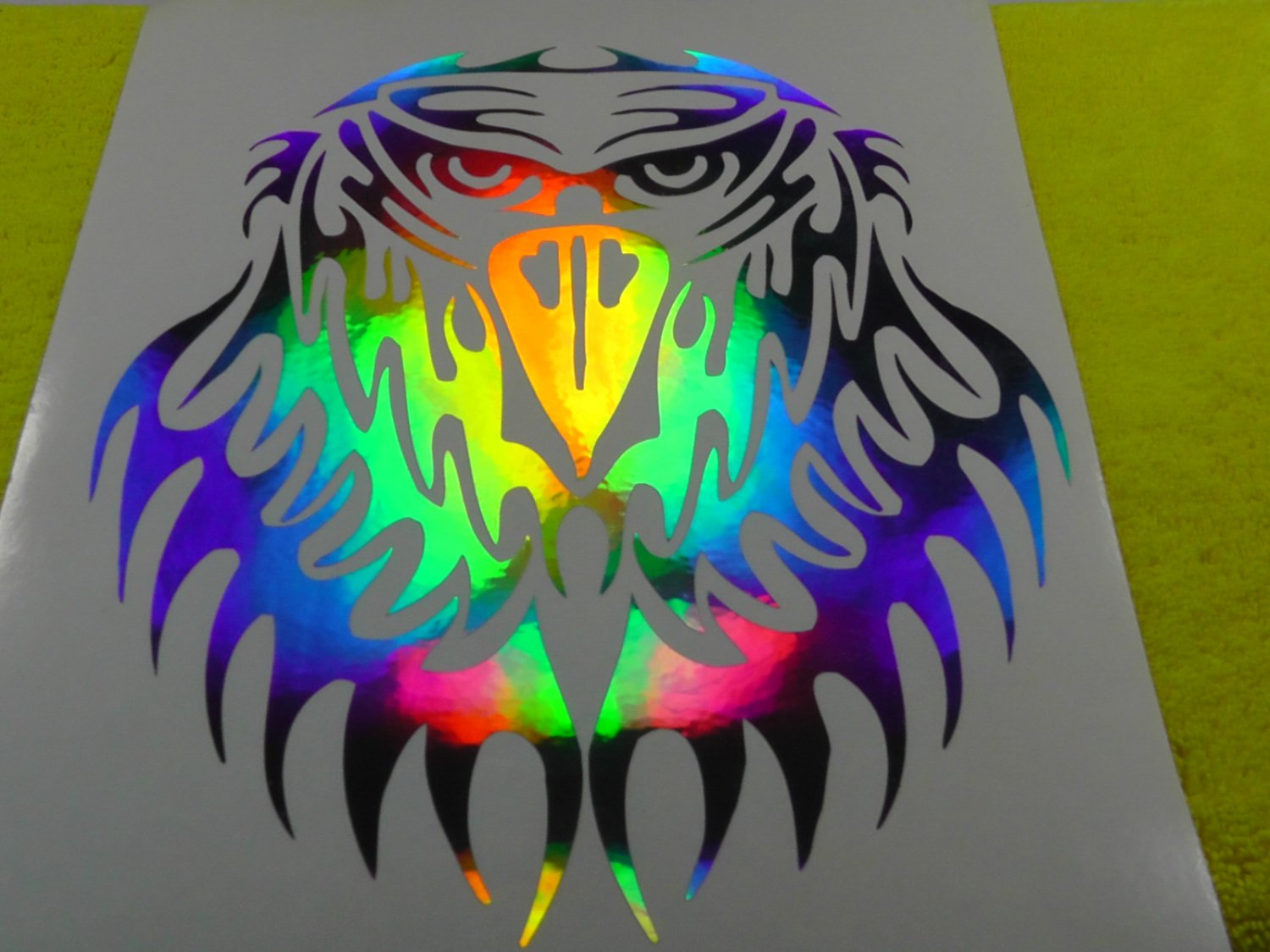"8"" Holographic Tribal American Eagle Head Car Window Laptop Decal Sticker"