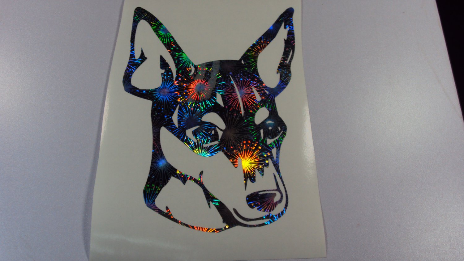 Toy Fox Terrier Dog Breed Holographic Fireworks Vinyl Car Window Laptop Decal