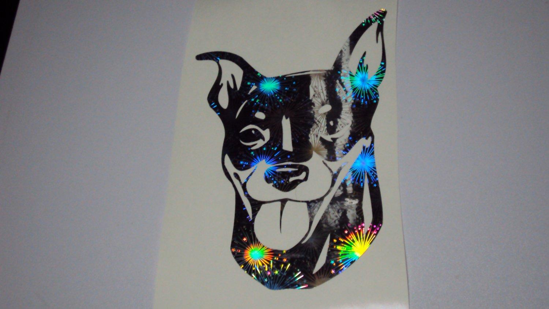 Miniature Pinscher Dog Breed Holographic Fireworks Vinyl Car Window Laptop Decal