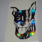 Miniature Pinscher Dog Breed Holographic Fireworks Vinyl Car Window Laptop Decal