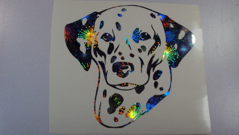 Dalmatian Dog Breed Holographic Fireworks Vinyl Car Window Laptop Decal