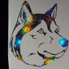 Siberian Husky Dog Holographic Fireworks Car Window Laptop Decal
