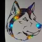 Siberian Husky Dog Holographic Fireworks Car Window Laptop Decal