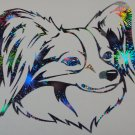 Papillon elegant toy Dog Breed Holographic Fireworks Car Window Laptop Decal Sticker