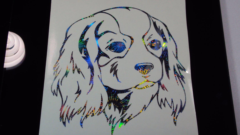 Cavalier King Charles lap dog Toy Spaniel Dog Breed Holo FW Car Window Laptop Decal