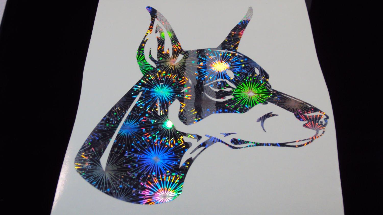Doberman Pinscher Dog Breed Dobermann Holographic Fireworks Car Window Laptop Decal Sticker