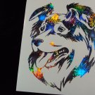 Australian Shepherd Dog Breed Holographic Fireworks Car Window Laptop Decal Sticker