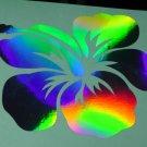 Hawaiian Hibiscus Flower Holographic Car Window Decal Laptop Vinyl Sticker bright