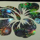 "5"" Hawaiian Hibiscus Flower Holographic Fireworks Car Window Decal Laptop Vinyl Sticker tropical"
