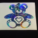 Holographic Fireworks Bear w Heart Car Window Laptop Decal Sticker