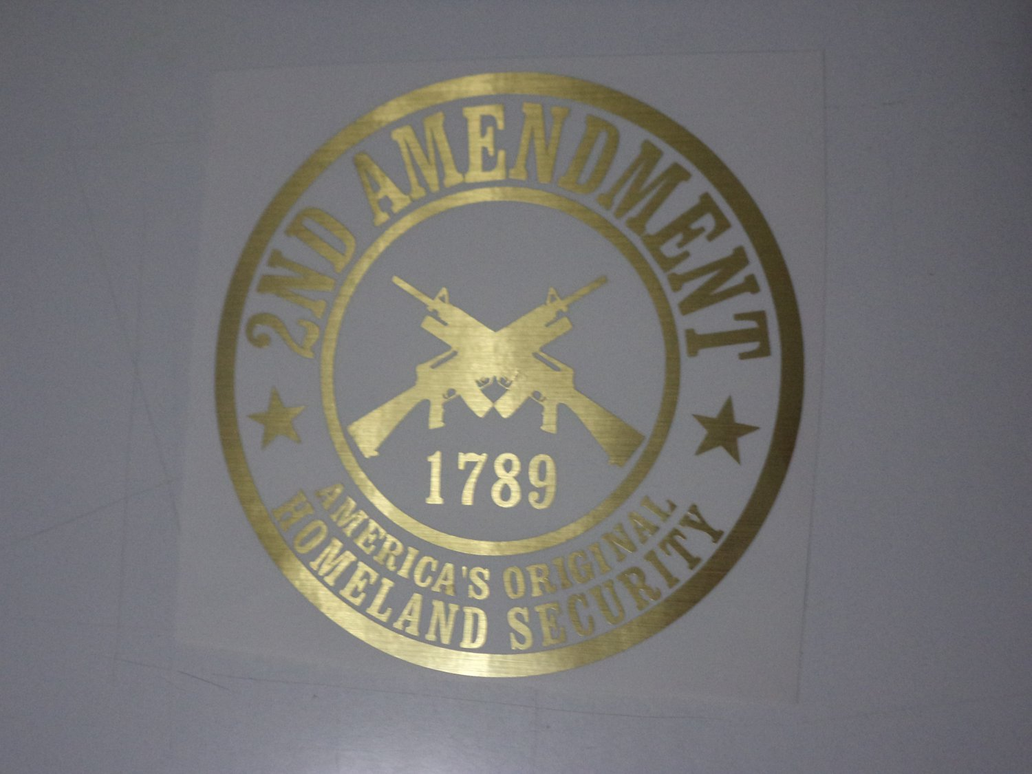Brushed Gold 2nd Amendment America's Homeland Car Window Laptop Decal Sticker