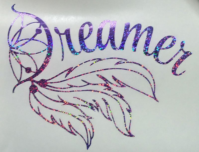 Holographic Purple Sequins Indian Dreamcatcher Dreamer Car Window Laptop Decal Sticker