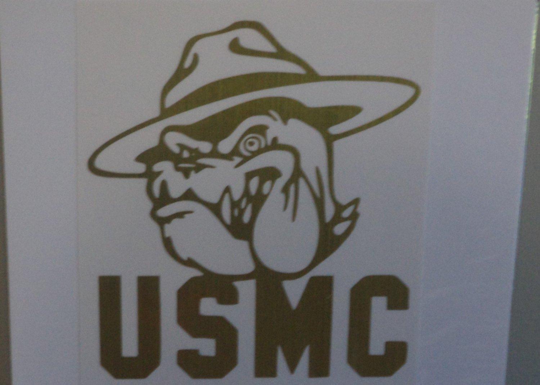 Brushed Gold United States Marine Corps USMC Vinyl Car Window Decal