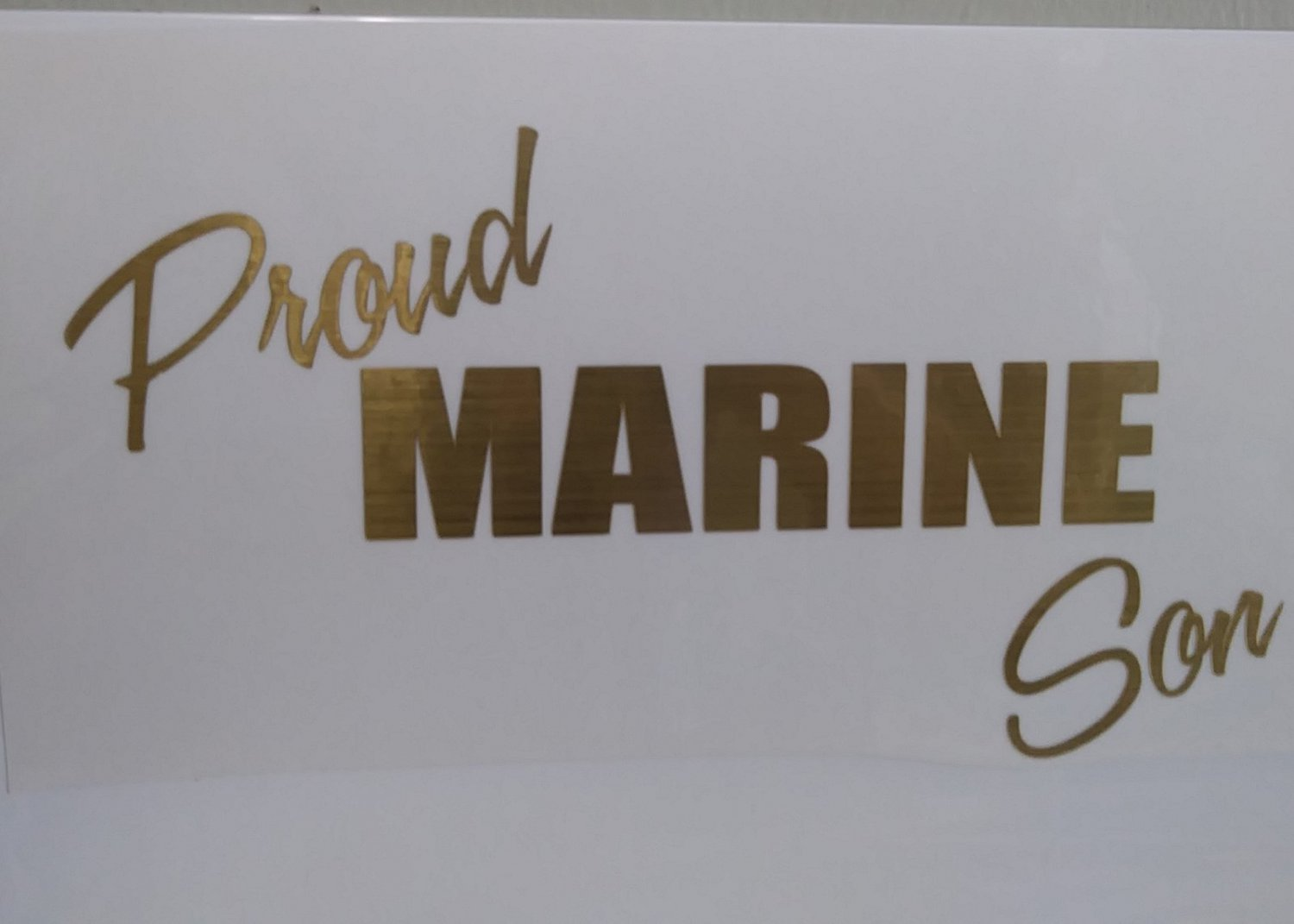 Brushed Gold Proud Marine Son Military Vinyl Car Window Decal