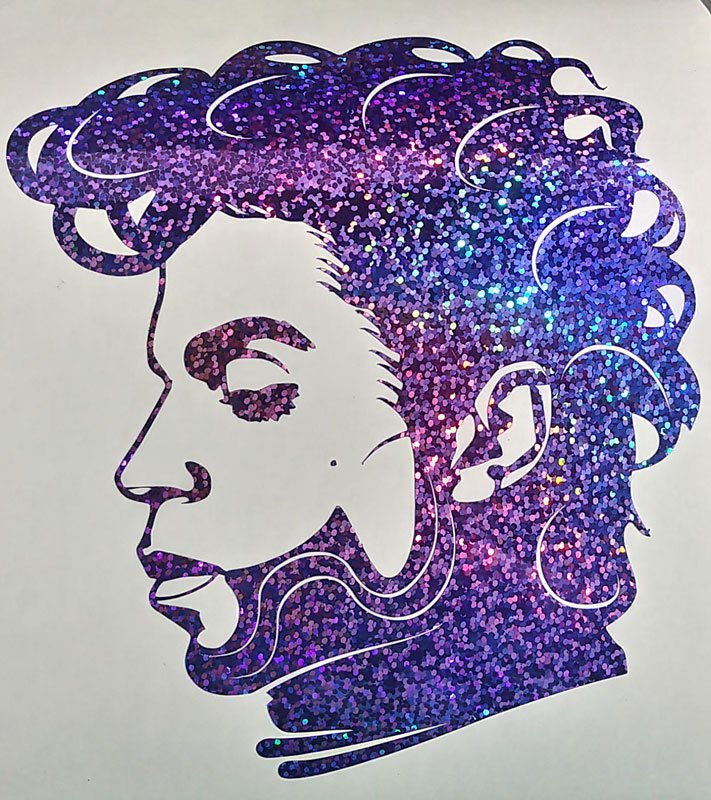 Holographic Purple Sequins Prince Face Car Window Laptop Decal Sticker
