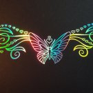 2Ft Holographic Tribal Butterfly HEARTS # 45 Vinyl Car Window Decal