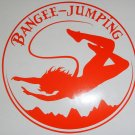 Orange Female Woman Bangee Jumping Bangee-Jumping Vinyl Car Window Decal Sticker
