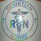 Holographic Sparkle Christian RN Nurse Car Window Laptop Decal Sticker